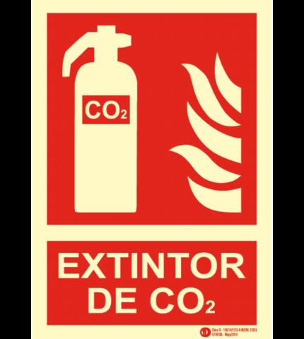 CARTEL FOTOLUMINISCENTE EXTINTOR CO2 CLASE B