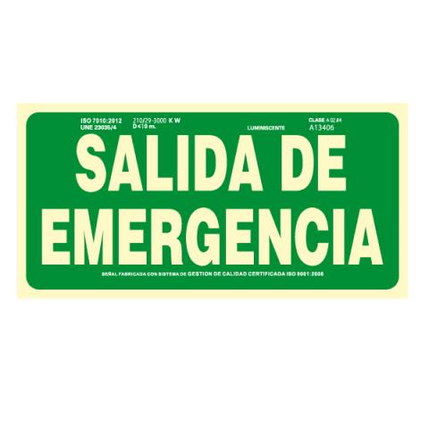 CARTEL FOTOLUMINISCENTE SALIDA EMERGENCIA CLASE B