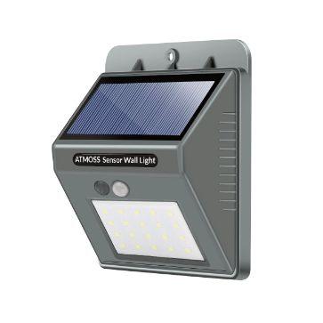 APLIQUE LED SOLAR PARED PIRAMIDE GRIS 20 SMD 5000K