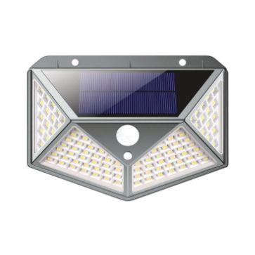 APLIQUE LED SOLAR PARED PIRAMIDE GRIS 100SMD 3200K