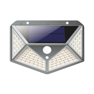 APLIQUE LED SOLAR PARED PIRAMIDE GRIS 100SMD 5000K