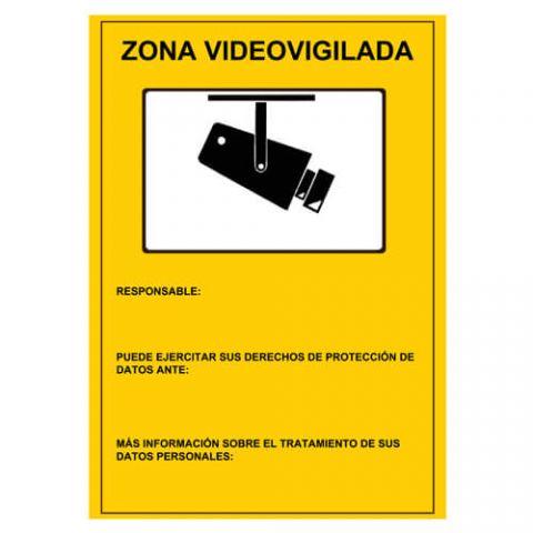 CARTEL CCTV ADHESIVO PARTE DELANTERA (A4)
